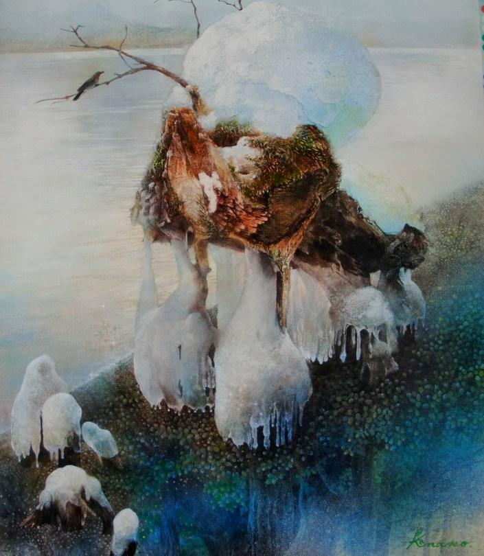 「Water Tapestry-今を感じて」 (キャンパスにアクリル F10号)