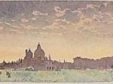 夕暮れのサンタマリア教会(クロモグラフ)