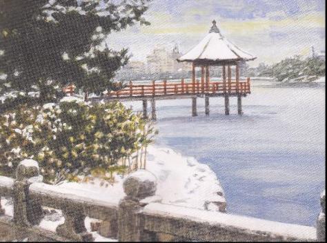 大濠公園 雪の浮見堂