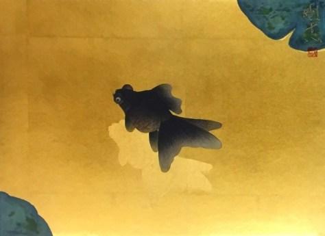 黒出目金図(日本画4号)