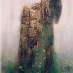 小島加奈子「緑衣-森で待ってる」(板にアクリル4号)⇒売却済み
