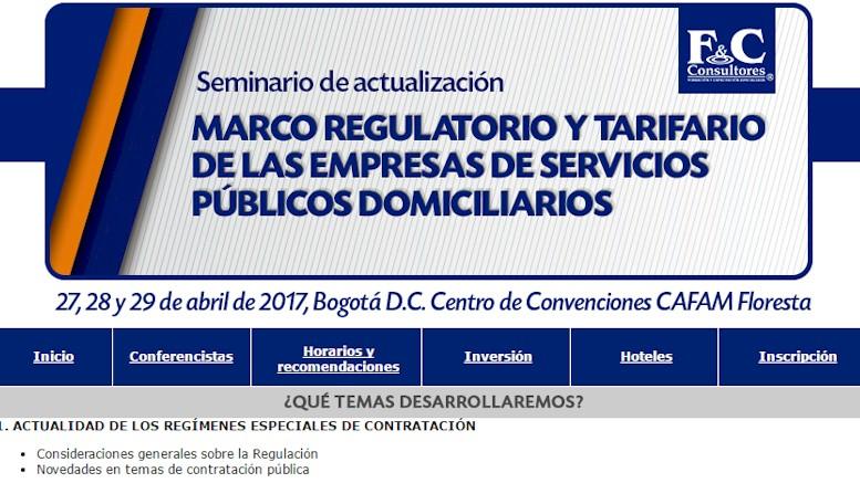 F&C Consultores invita a seminario sobre Marco Regulatorio y Tarifario de las Empresas de Servicios Públicos Domiciliarios