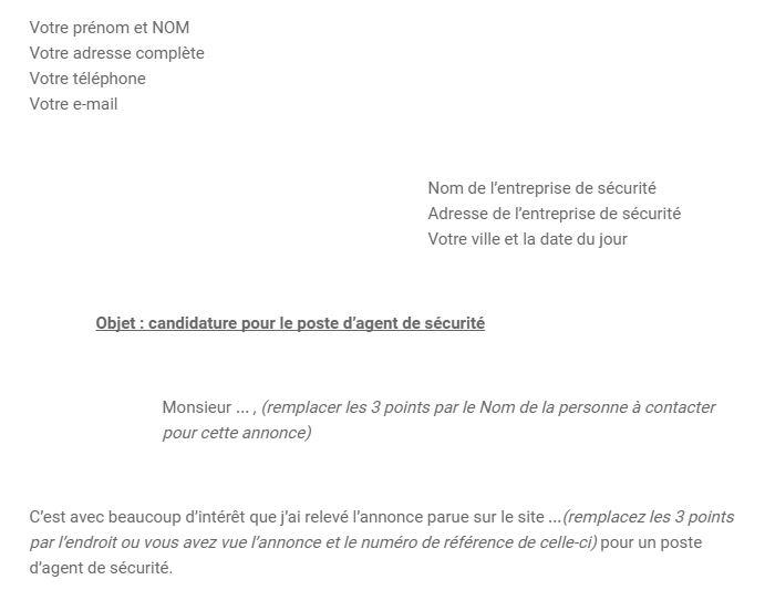 Exemple de lettre de motivation agent de sécurité - Formation agent - modele lettre de motivation
