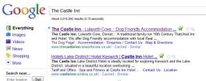 "Google Search for ""The Castle Inn"""
