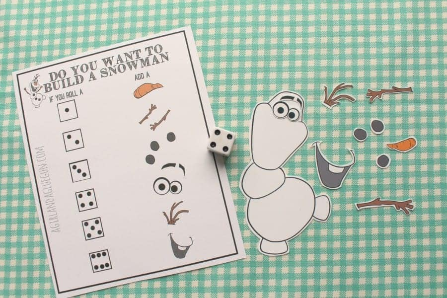 Do you want to build a snowman? Frozen Olaf game and printable - A