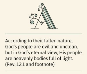 According to their fallen nature, God's people are evil and unclean, but in God's eternal view, His people are heavenly bodies full of light. (Rev. 12:1 and footnote)