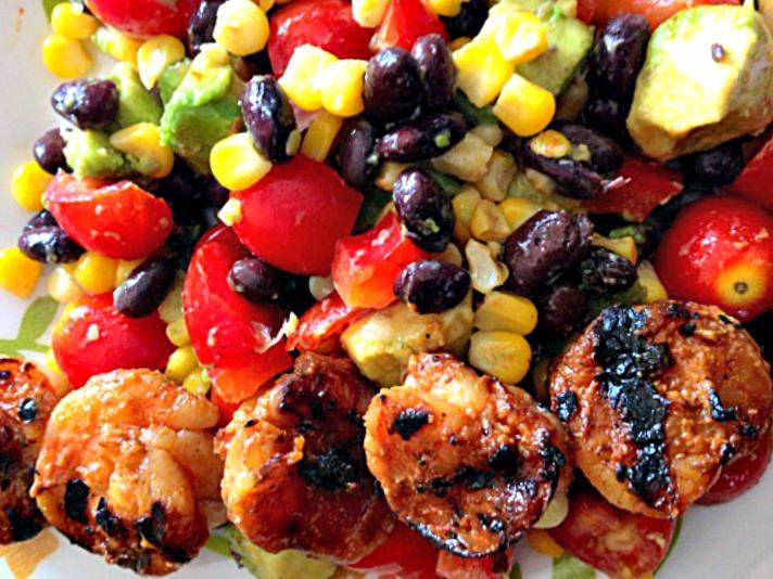 honey sriracha grilled shrimp salad