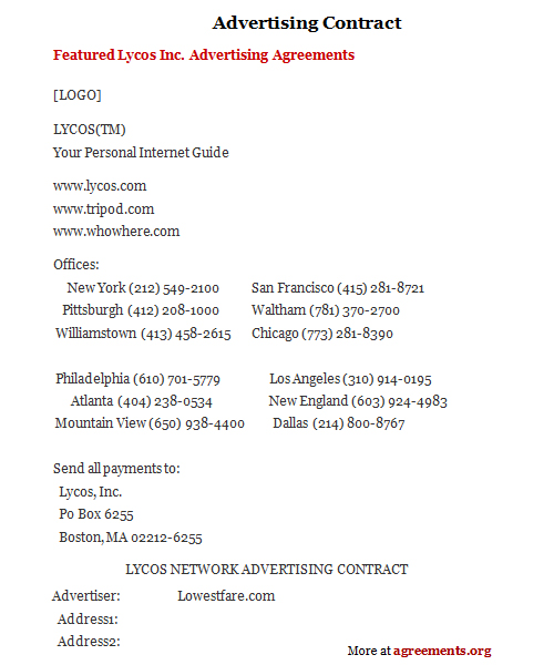 Simple Contract Agreement Between Two Forms And ~ Advertising - Advertising Contract Template