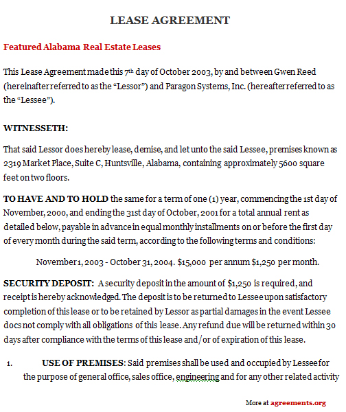 alabama residential lease agreement template - sample residential lease agreement template