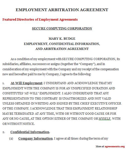 Arbitration Agreement, Sample Arbitration Agreement Template