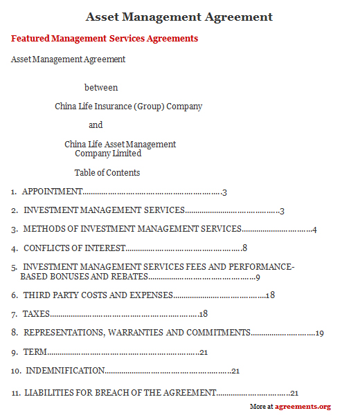 Asset Management Agreement, Sample Asset Management Agreement - investment management agreement
