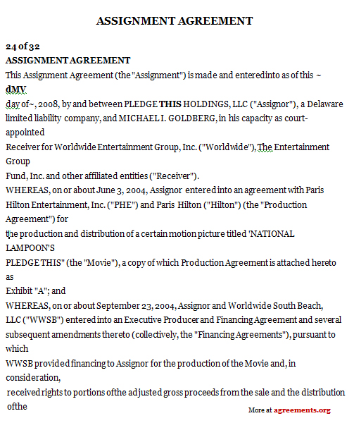 Assignment Agreement, Sample Assignment Agreement Template - assignment of contract