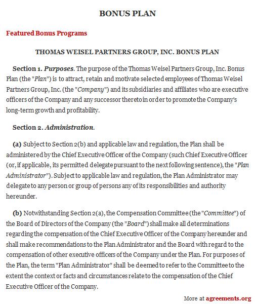 Bonus Plan Agreement, Sample Bonus Plan Agreement Template - sample executive agreement