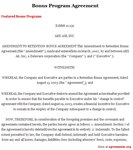 Bonus Agreement Template Image collections - Agreement Letter Format - executive employment contract