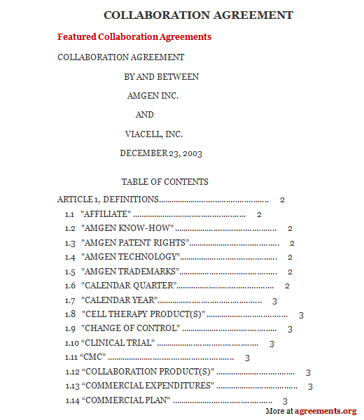 Sample Business Collaboration Agreement | Create professional ...