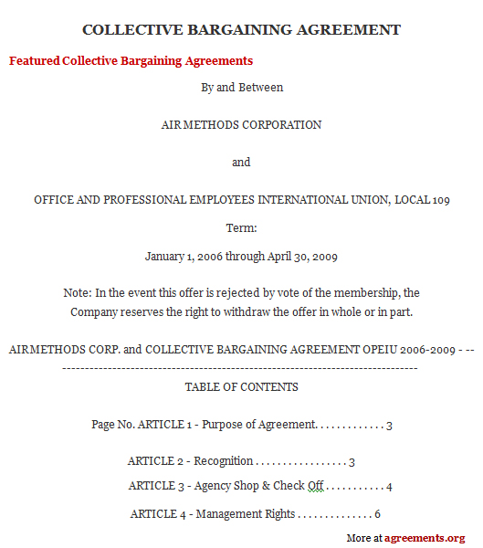 Collective Bargaining Agreement, Sample Collective Bargaining