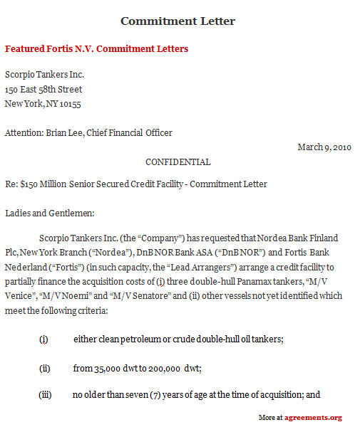 Commitment Letter Agreement, Sample Commitment Letter Agreement Template