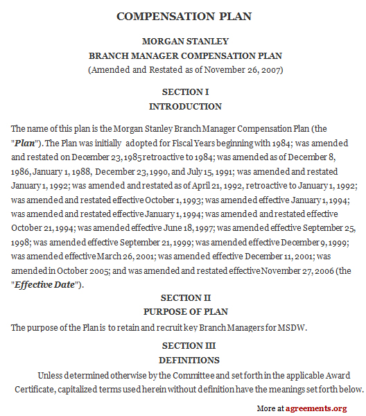 Compensation Plan Agreement, Sample Compensation Plan Agreement - compensation plan template