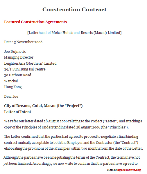 Construction Contract Agreement, Sample Construction Contract