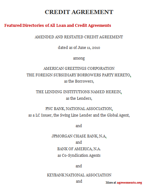 Credit Agreement, Sample Credit Agreement Template