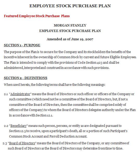Employee Stock Purchase Plan Agreement, Sample Employee Stock - stock purchase agreement template