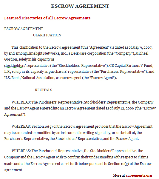 Escrow Agreement, Sample Escrow Agreement Template