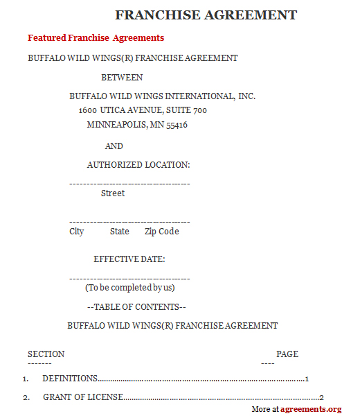 Franchise Agreement, Sample Franchise Agreement Template