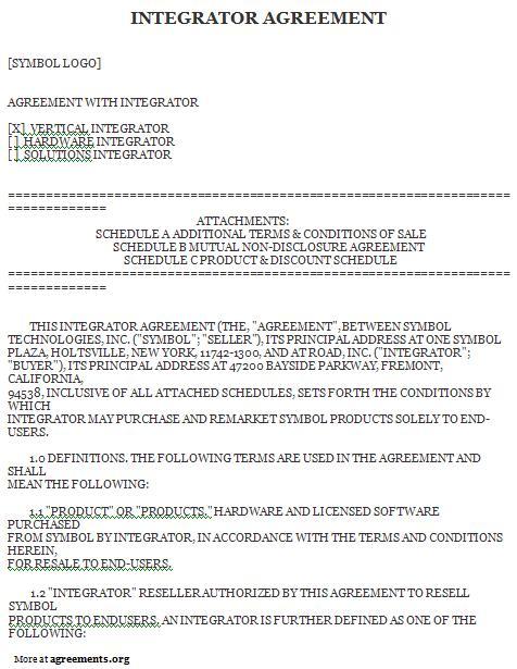 Integrator Agreement, Sample Integrator Agreement Template - sample reseller agreement
