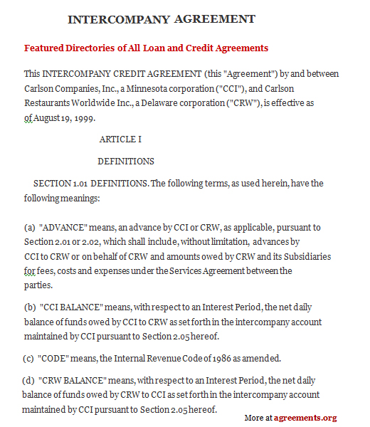 sample agreement between two companies