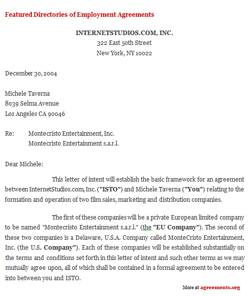 Letter of Intent Agreement, Sample Letter of Intent Agreement Template
