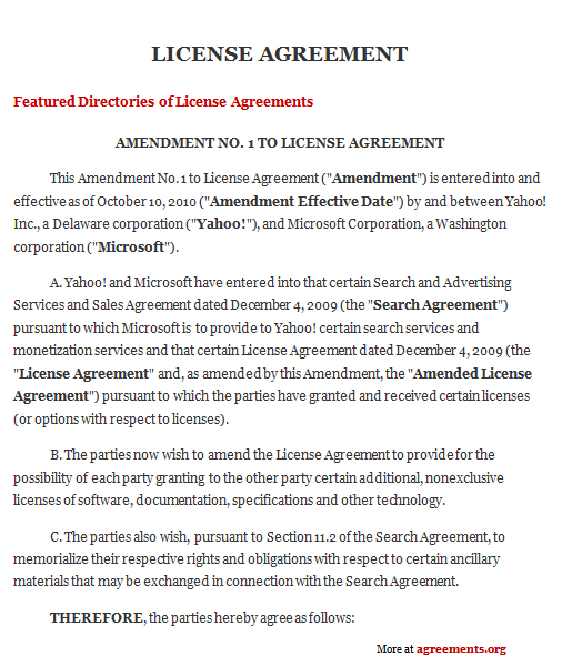 License Agreement, Sample License Agreement Template