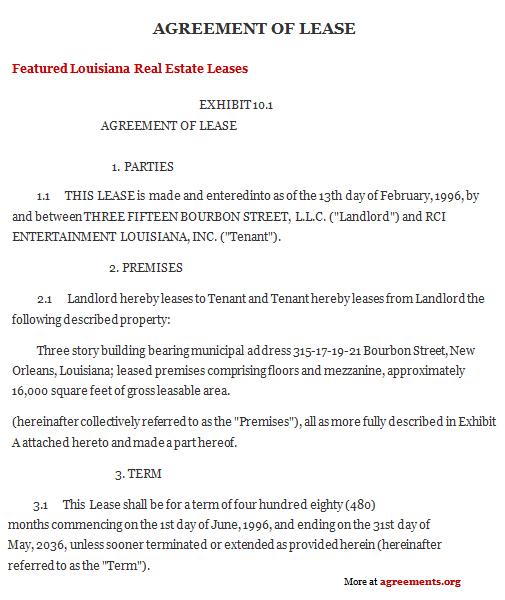 Louisiana Lease Agreement, Sample Louisiana Lease Agreement - lease agreements sample