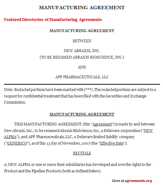 Manufacturing Contract Agreement, Sample Manufacturing Contract - contractual agreement template