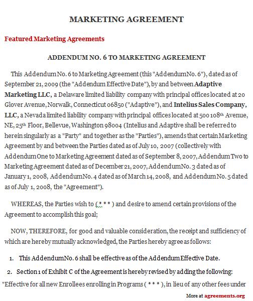 Marketing Agreement, Sample Marketing Agreement Template - marketing agreement template