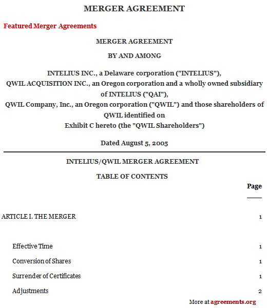 Merger Agreement, Sample Merger Agreement Template