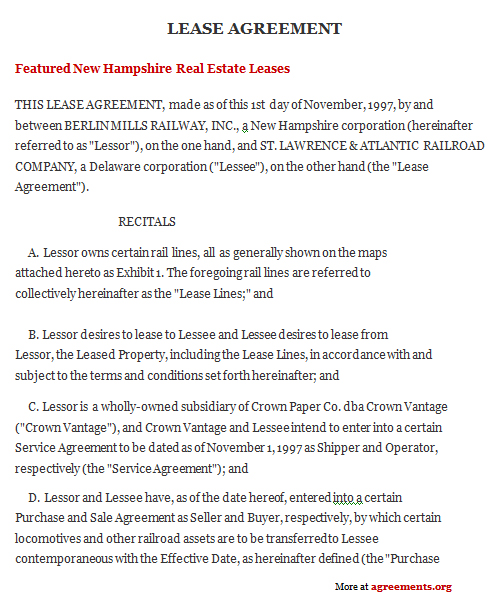 New Hampshire Lease Agreement, Sample New Hampshire Lease Agreement - property lease agreement sample