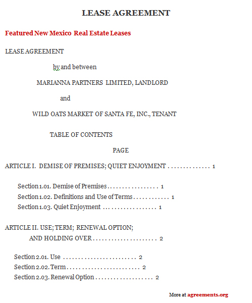 New Mexico Lease Agreement, Sample New Mexico Lease Agreement Template
