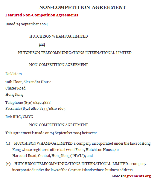 Non-Compete Agreement, Sample Non-Compete Agreement Template