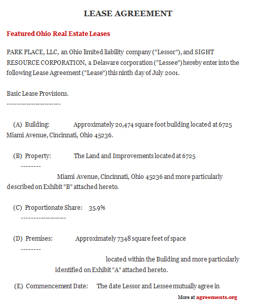 Lease Agreement Template Ohio | Create Professional Resumes Online