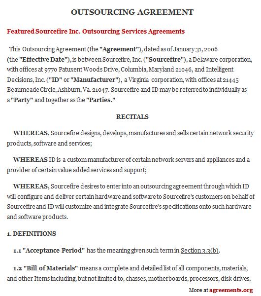 Construction Management Agreement Rocket Lawyer Outsourcing Agreement Sample Outsourcing Agreement