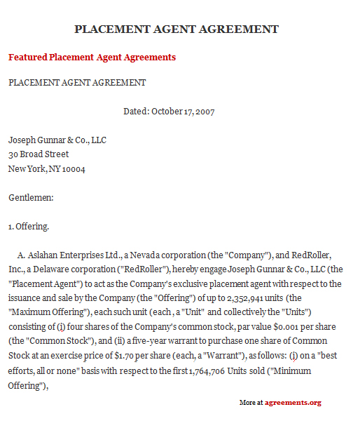 Agent Contract Template Sample Contract Agent Sample Contract - sales agent contracts