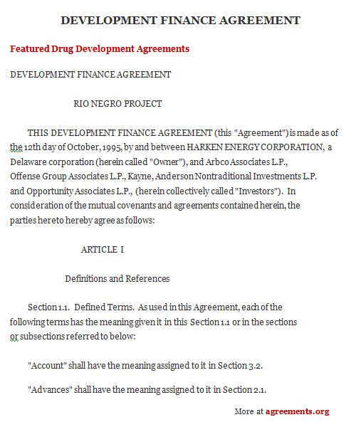 Project Finance Agreement, Sample Project Finance Agreement Template