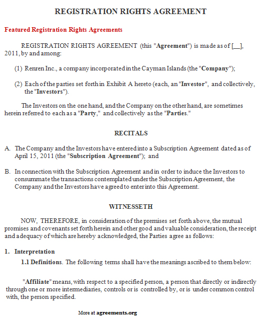 Registration Rights Agreement, Sample Registration Rights Agreement