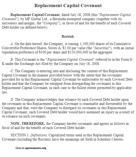 Replacement Capital Covenant Agreement, Sample Replacement Capital - convertible note agreement template