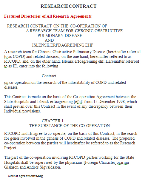 Research Contract Agreement, Sample Research Contract Agreement Template