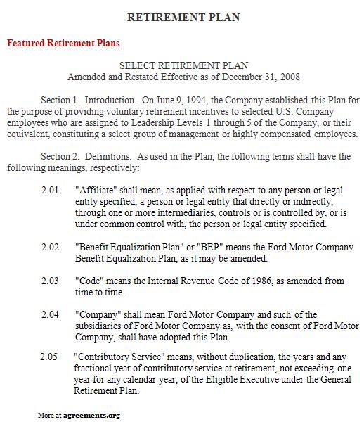 Retirement Plan Agreement, Sample Retirement Plan Agreement - sample executive agreement