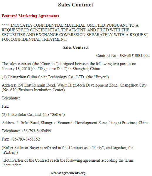 Sales Contract Agreement, Sample Sales Contract Agreement Template - sample sales agreement