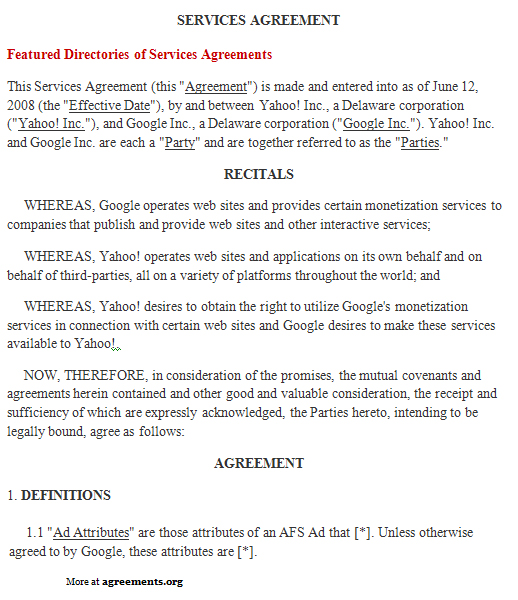 Services Agreement, Sample Services Agreement Template - service agreement