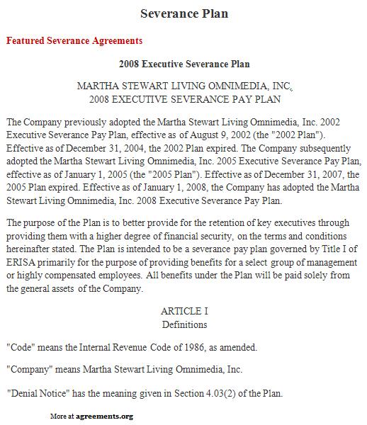 Severance Plan Agreement, Sample Severance Plan Agreement Template - sample severance agreement