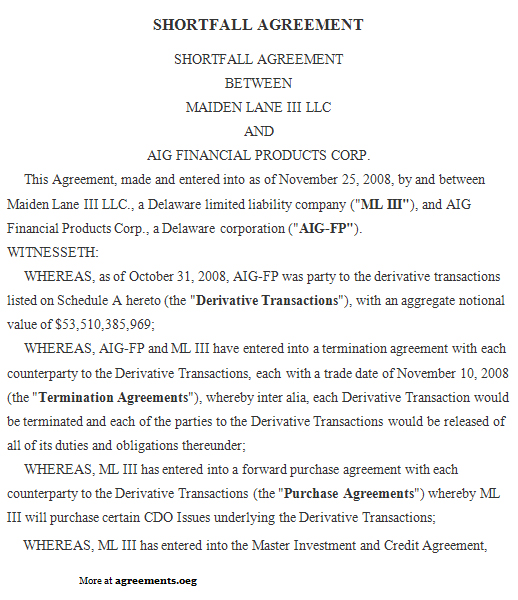 Shortfall Agreement, Sample Shortfall Agreement Template - sample security agreement